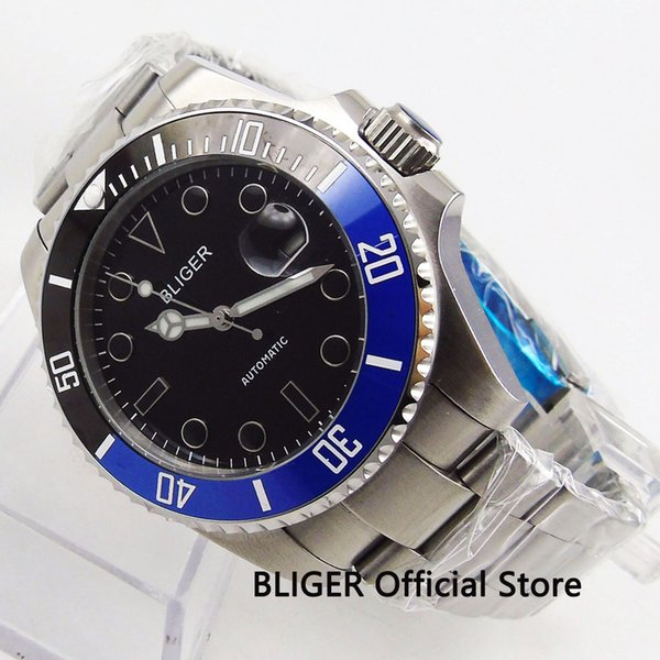 43MM Bliger Black Dial Men's Watch Sapphire Crystal Date Window Ceramic Bezel Luminous MIYOTA Automatic Movement Wristwatch