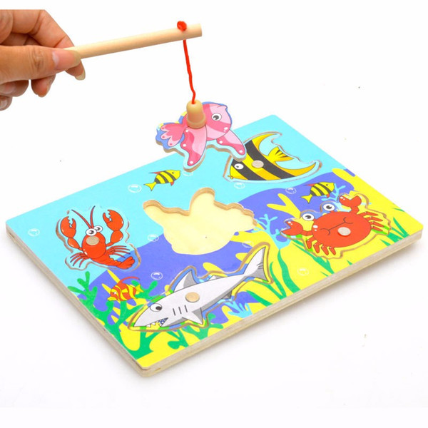 wooden Baby Toy Wooden Magnetic Fishing Game & Puzzle Board 3D Jigsaw Puzzle Children Education Toy juguetes educativos