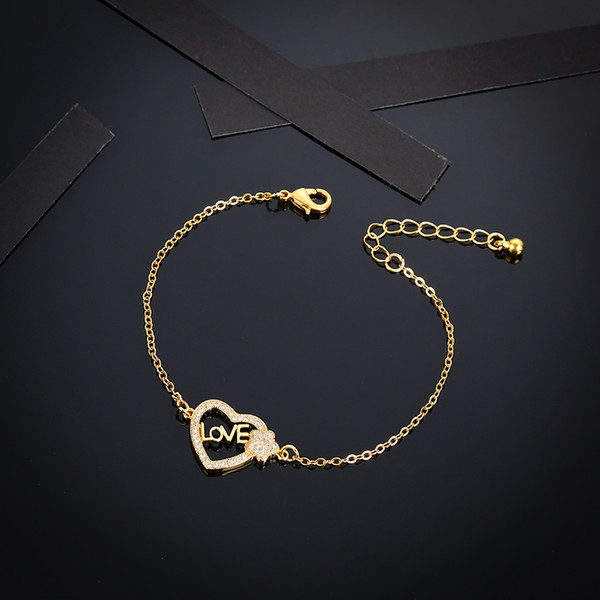 Мода Мусульманская форма сердца Циркон письмо Любовь Платина Золото Очарование Ближневосточный Браслет Модные Украшения
