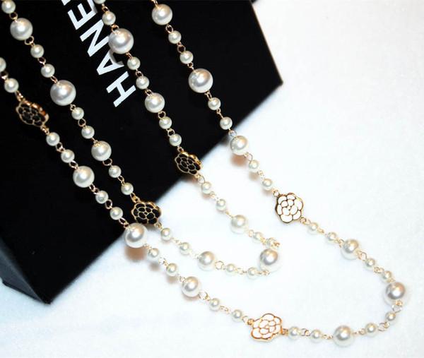 Femmes Nouvelle chaîne Pull design de mode perle camélia Marque femme long collier de luxe pour les cadeaux de Noël