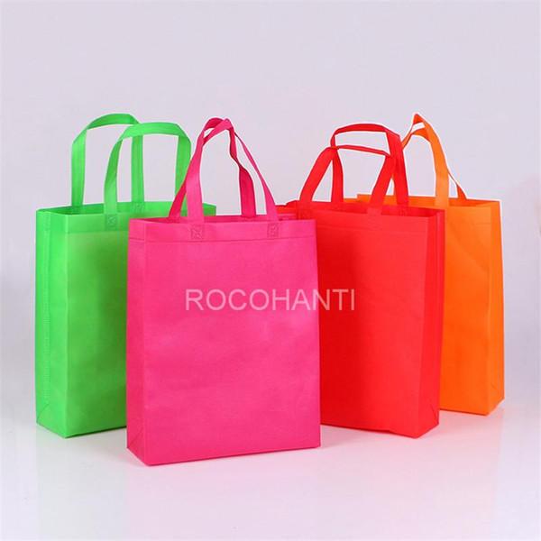 Borsa non tessuta di acquisto su misura economica promozionale all'ingrosso di 100PCS w / maniglia, borsa non tessuta stampata LOGO su ordinazione