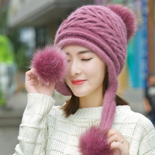Korea Mode Herbst Und Winter Neue Muster Mädchen Strickmütze Frauen Winter 1 Stücke Set Beanie Haar Ball Weißen Hut