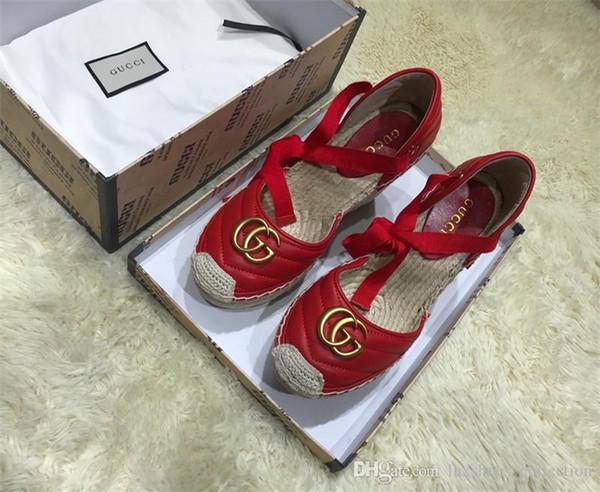 Clássico Mulheres Couro Sippler Sandals, Espadrille Flats com palha Weaving Soles Calçados casuais Mulheres Deslizamento-na para uso diário C02