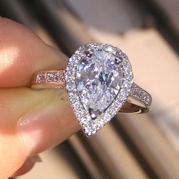 Wholesale Professional New Arrivals Luxury Jewelry 925 Sterling Silver Pear Cut White Topaz CZ Diamond Wedding Heart Band Ring For Women