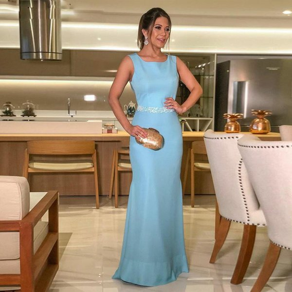 Sirena azul claro Vestidos de noche Cucharada Sin mangas Con cuentas Fajín Hueco Volver Ocasión especial Vestidos de fiesta personalizados 2019