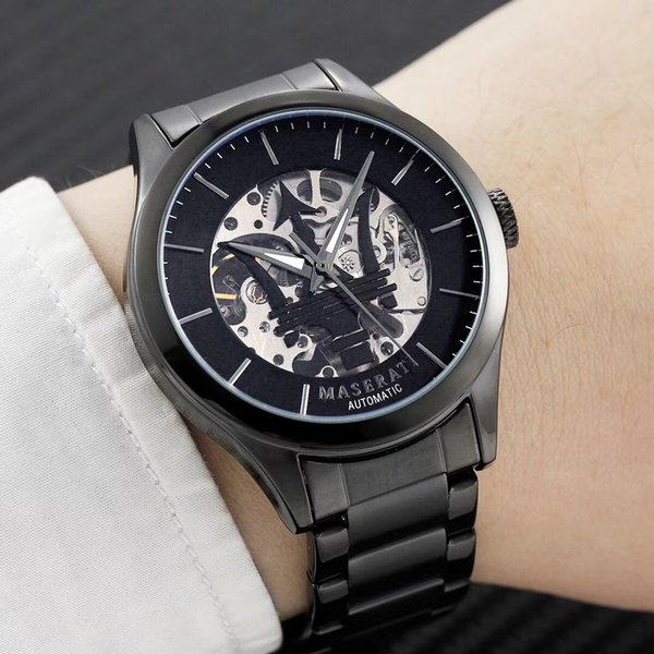 Automatic mechanical Mens Wrist Watch Top Brand maserati stainless steel Gift Time Clock Wacth Relojes Hombre Horloge Orologio Uomo