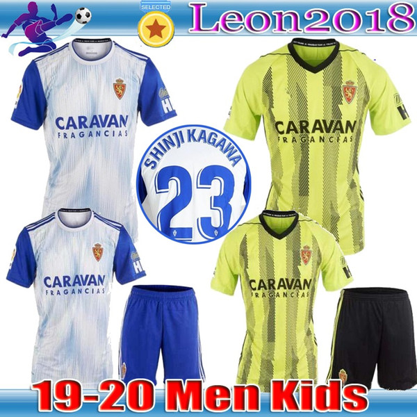top popular Adult kids 2019 Real Zaragoza Soccer Jersey 19 20 Home away ZAPATER SHINJI KAGAWA Soccer Shirt Saragossa Borja Football Uniform 2019