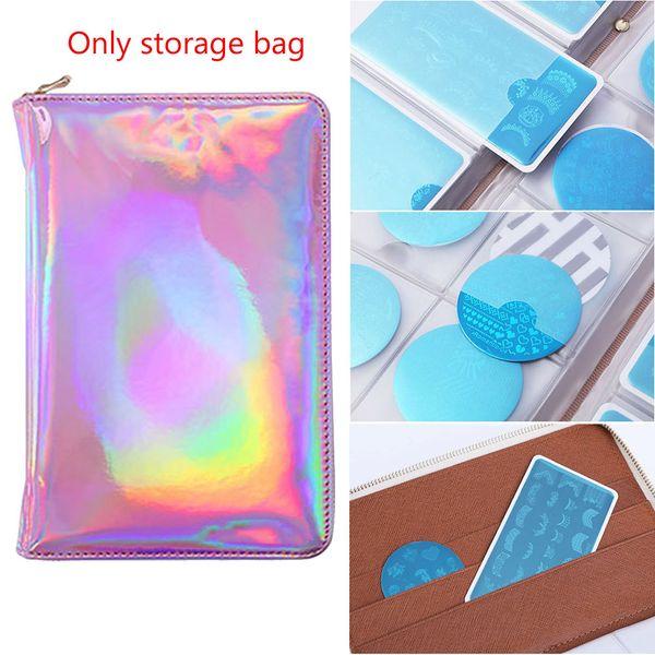 72 Machines à sous Accessoires Nail Art ronde en argent rose Support de plaque Case sac de rangement Organisateur Paquet Holographic Stamp Portable