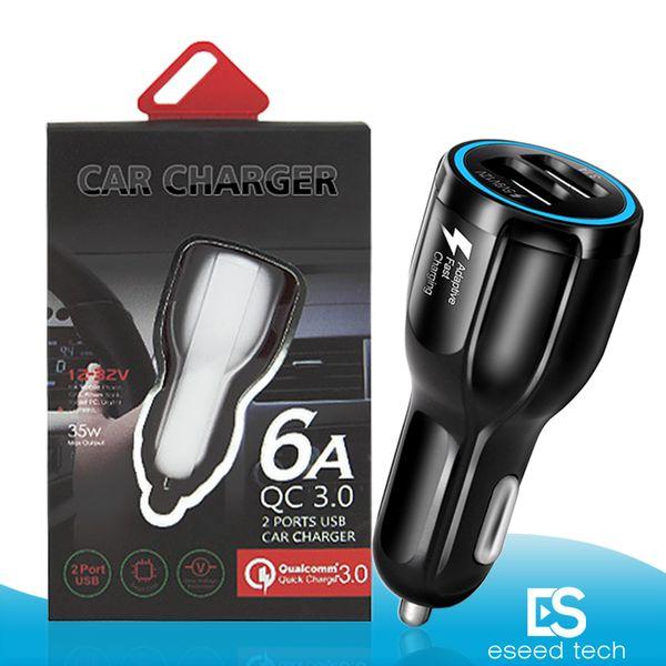 لسامسونج غالاكسي S8 فون QC3.0 تهمة سريع 6A كوالكوم الشحن السريع شاحن سيارة شاحن الهاتف المزدوج USB مع حزمة البيع بالتجزئة