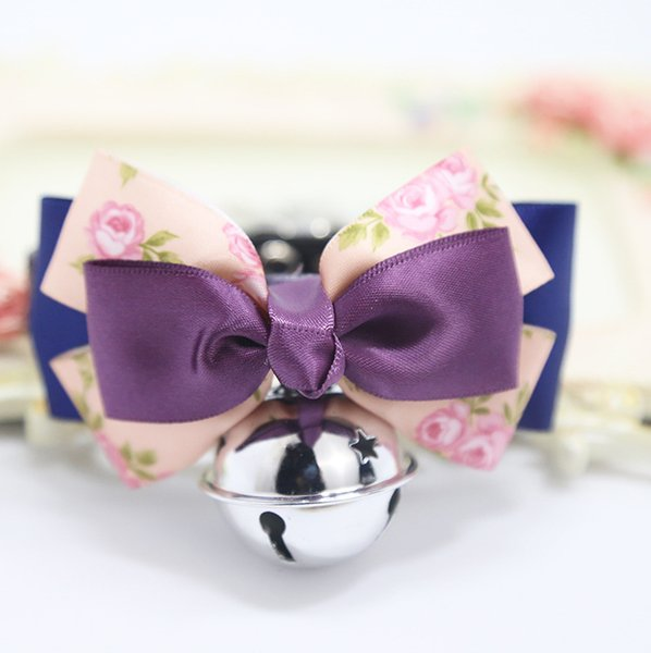 Lovely Pet Dog Tie Bow Teddy kitten Velvet Bows Cat Bell Adjustable Collar Safety Elastic Bowtie Bells 6 Colours 1pcs Pet Supplies