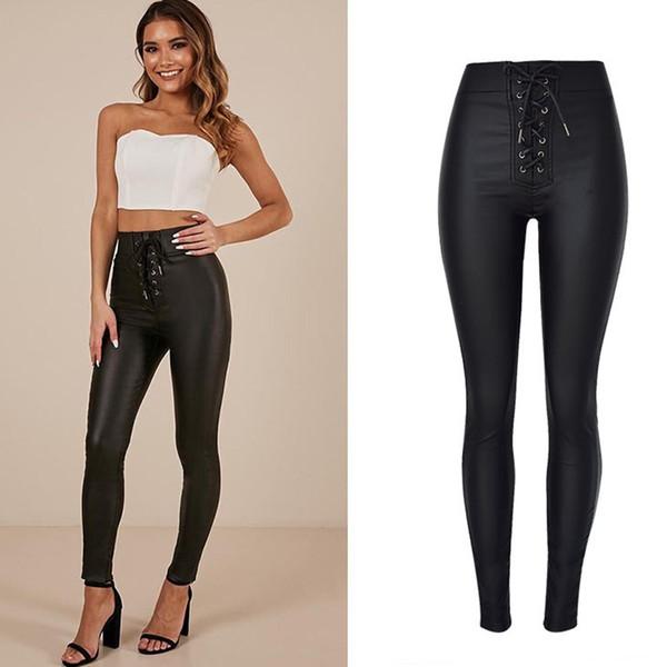 tienda de liquidación 1245d 0ed67 Compre 2018 Mujeres Negro Pu Cuero Jeans Moda High Wasit Con Cordones  Decorado Mujer Jeans Sexy Lápiz Pantalones Pitillo A $37.86 Del Seein | ...