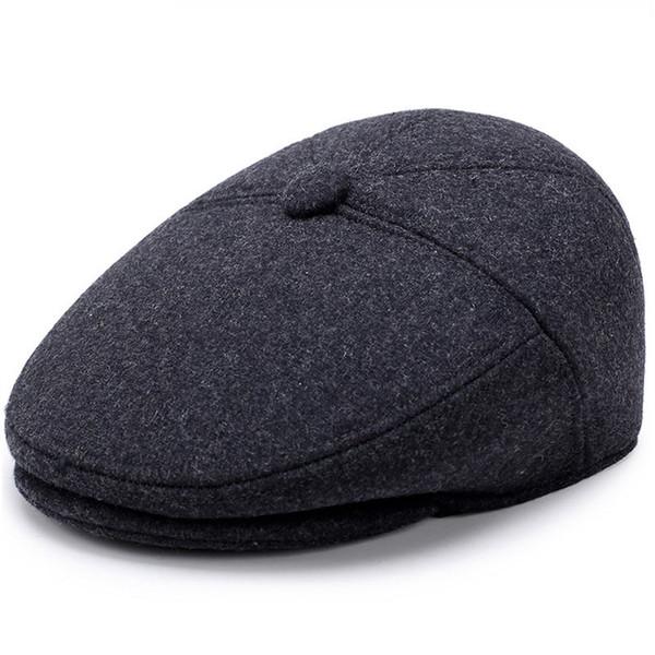 Quality Men Winter Dad Hat Leisure Cotton Wool Old Man's Ear Protection Warm Advancing Cap Men Simple Solid Color Wholesale