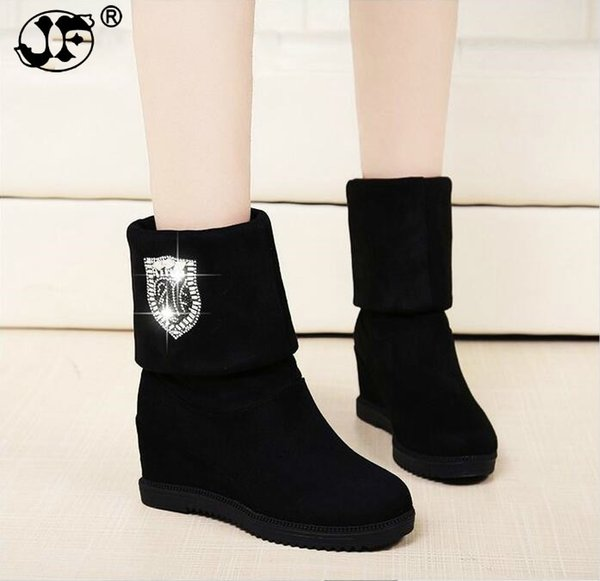 women boots Hot sale winter wedges boots high heels casual snow boots fashion snow botas shoes women Mujer zapatos 866