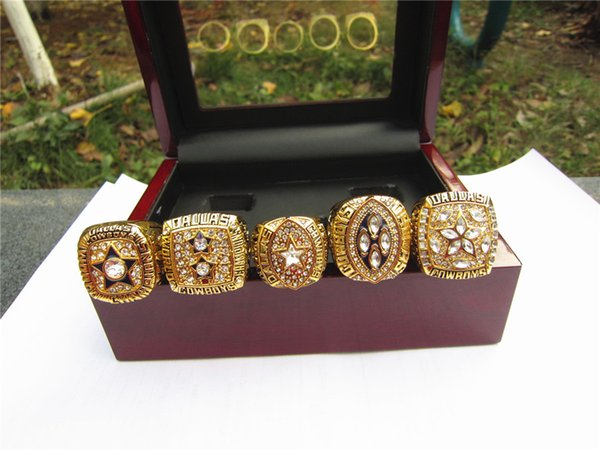 5pcs cowbo y ring set with wooden box