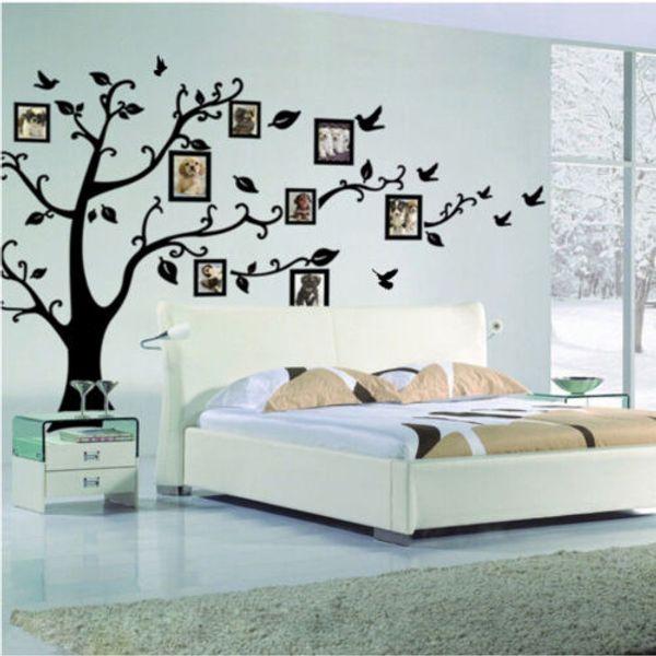 Famiglia grande Photo Frame Albero Uccello Citazioni Wall Sticker Art Stickers Grande albero per gli autoadesivi foto della parete per la decorazione domestica