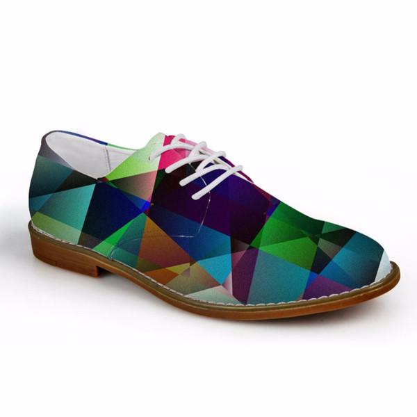 Индивидуальные 2019 Осень Мужчины Повседневная Оксфорды Обувь 3D Геометрия Pattern мужские Синтетические Оксфорды Обувь Высокого Качества Кожи