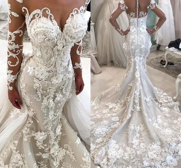 Gorgeous Appliques Mermaid Long Sleeve Wedding Dresses with Detachable Train 2020 Full Lined Bones 3D Floral Garden Wedding Gown