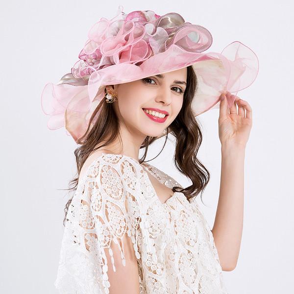Wedding Hat Summer Organza Sun Hats For Women Elegant Laides Church Vintage Hat Wide Large Brim With Flower Defence Ultraviolet D19011103