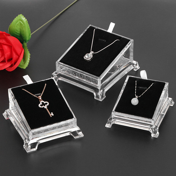 [DDisplay] High Classic Acrylic Jewelry Necklace Frame Transparent Pendant White Display Double Sides Base Jewelry Black Showcase Holder