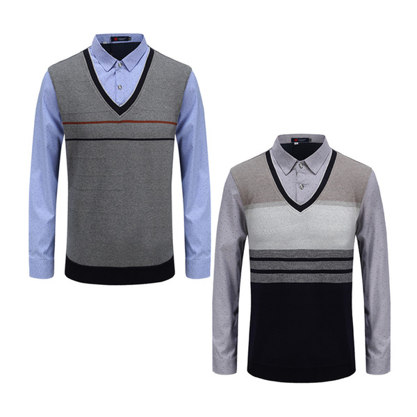 Latest Social Formal Shirt Warm Sweater Business Office Shirt male Designs For Winter Sweaters Men