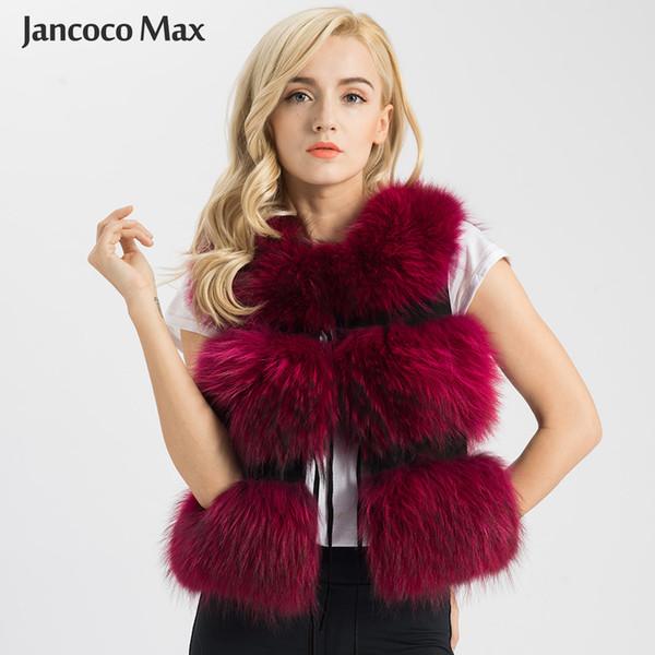 Jancoco Max 2019 Mujeres Chaleco de Piel Real Chaleco Chaleco de Piel de Mapache Genuina Señora Moda de Invierno 3 Filas Chaleco de Alta Calidad S1150SJ