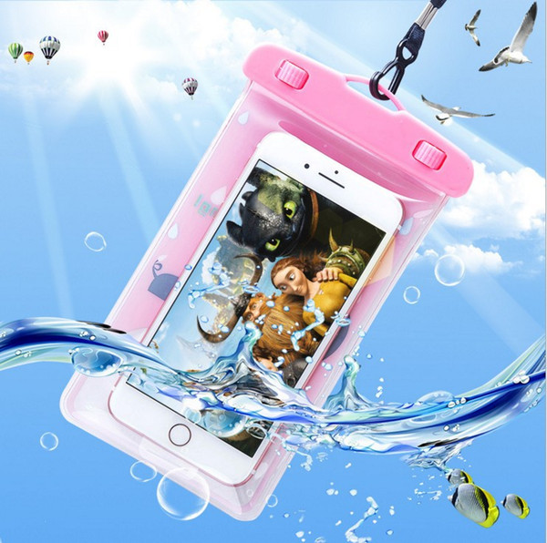 Universal Waterproof Case Pouch For Iphone 7 Plus Huawei Samsung Card Paperwork Plastic Cartoon Storage Cellphone Dry Bag