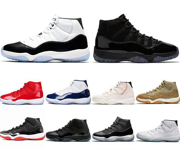 2019 Nuevos zapatos de baloncesto para hombre Concord 11 11s Platinum Tint Prom Night Cap and Gown legend blue Barons Bred Infrared Trainer zapatillas deportivas