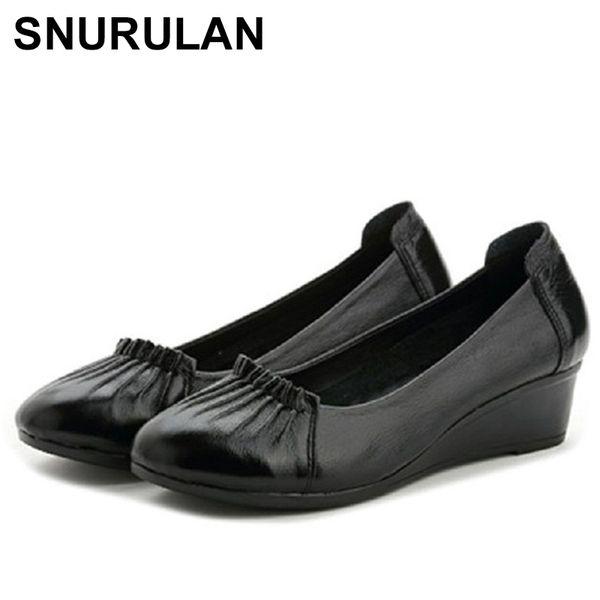Designer Dress Shoes SNURULAN High Heels Women Genuine Leather Wedges Woman Fashion Casual Pumps Single Plus Size Female Work E617