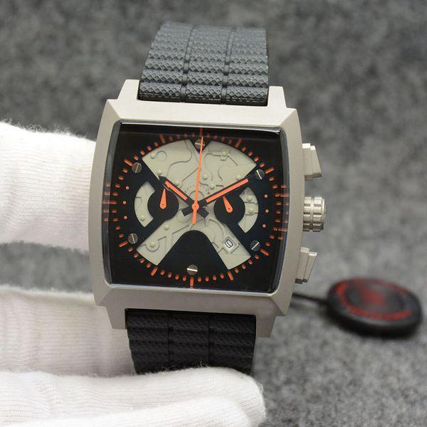 Fashion Style Outdoor 45MM Cronografo al quarzo Accurata Mens Orologi Guarda da polso quadrante quadrato con le mani arancioni