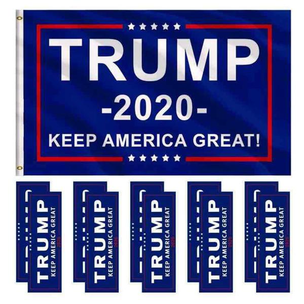 Trump 2020 Flag Sticker Set Donald President Body Car Sticker Keep Make America Great Home Party Decor Banner LJJT1457