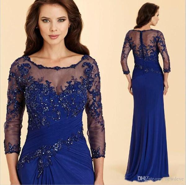Vintage Royal Blue Madre de los vestidos de novia Apliques de gasa con cuentas Sirena Vestidos de noche Mangas largas Más tamaño Vestido de boda