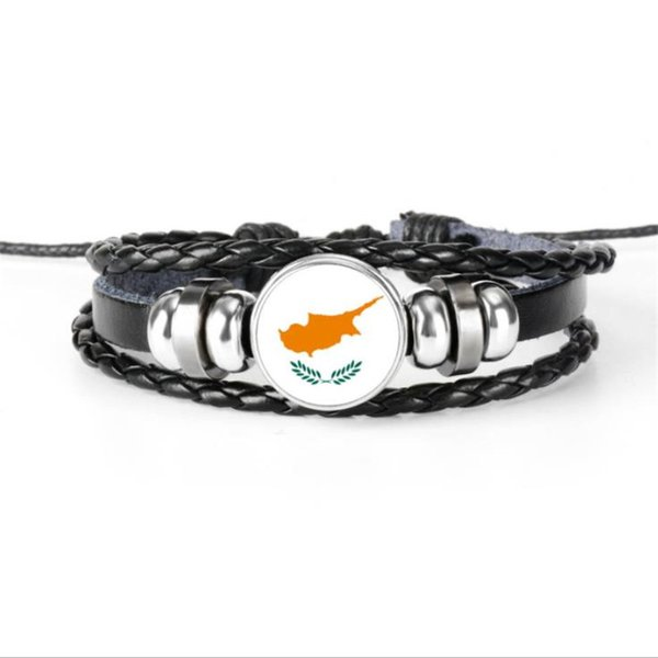 Hot Sale New Fashion Cyprus National Flag World Cup Football Fans Time Gem Glass Cabochon Jewelry High Quality Leather Rope Beaded Bracelets