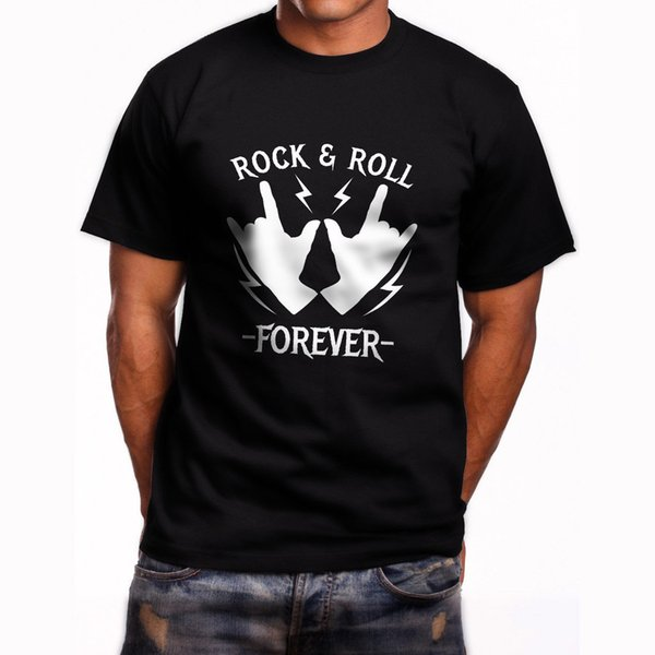 Rock & Roll Forever Men's Black T-Shirt size discout hot new tshirt top free shipping t-shirt funny 100% Cotton t shirt