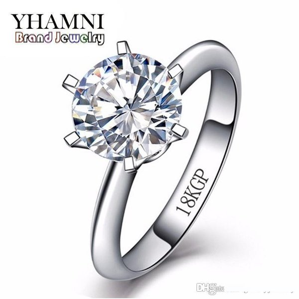 YHAMNI Promotion Gold Filled Ring With 18KGP Stamp Pure White Gold Rings Set 8mm 2 Carat SONA CZ Diamond Wedding Rings For Women R099
