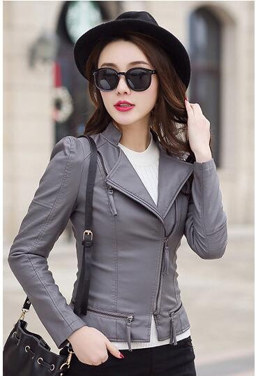 2018New Spring Fashion Women Motorcycle PU Leather Jackets Female Zippers Coat Hot Black spring Autumn Short Outwear