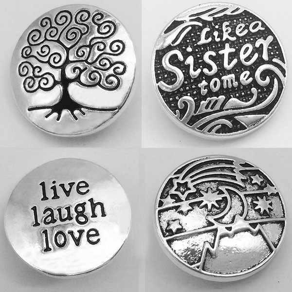 tree of life buttons XH1120 LOVE laugh live sister BELIEVE tree of life metal snap button