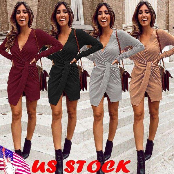 Sexy Dress Knitted Dress 2019 Winter Warm Women Solid V-Neck Kintwear Casual Long Sleeve Pullover Dress Clubwear