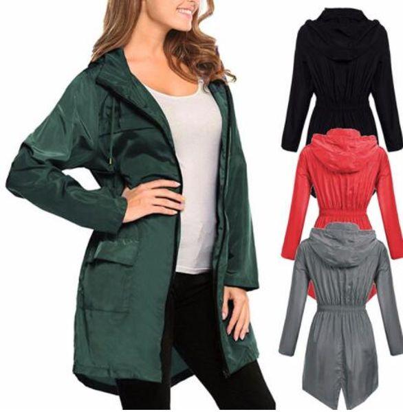Womens Waterproof Rain Coat Long Sleeve Hooded Wind Jacket Outdoor Outwear Hiking Coat Raincoat Jacket KKA6501