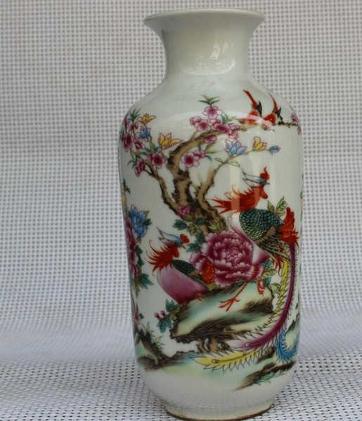 Jingdezhen ceramic antique blue and white porcelain bottle Phoenix Peony map home living room bedroom decoration crafts ornaments