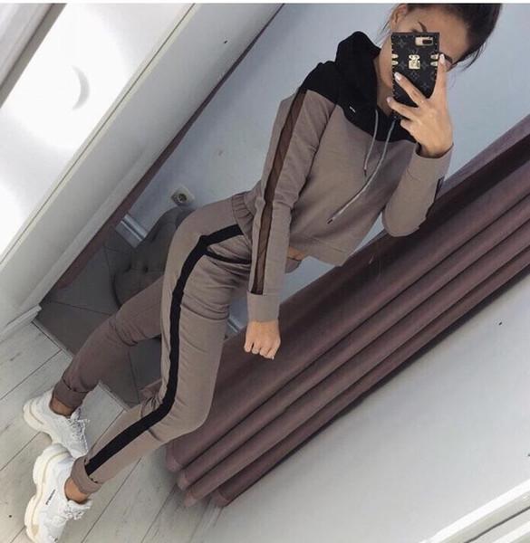 ASD22 women long sleeve patchwork zipper jackets + legging long pants 2pcs sporting women's set tracksuits 2piece set sportswear