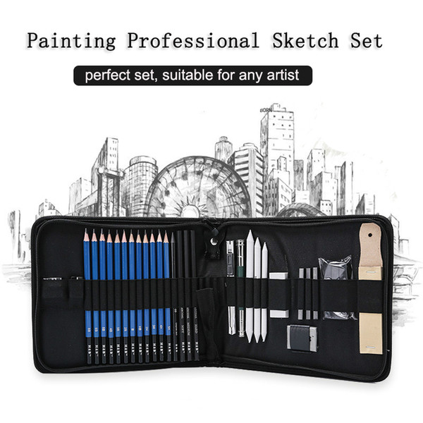 best selling Professional Art Set 32 PCS Drawing and Sketching Set Drawing Sketching Charcoal Pencils. Kneaded Eraser. Art Kit for Kids Teens T200107