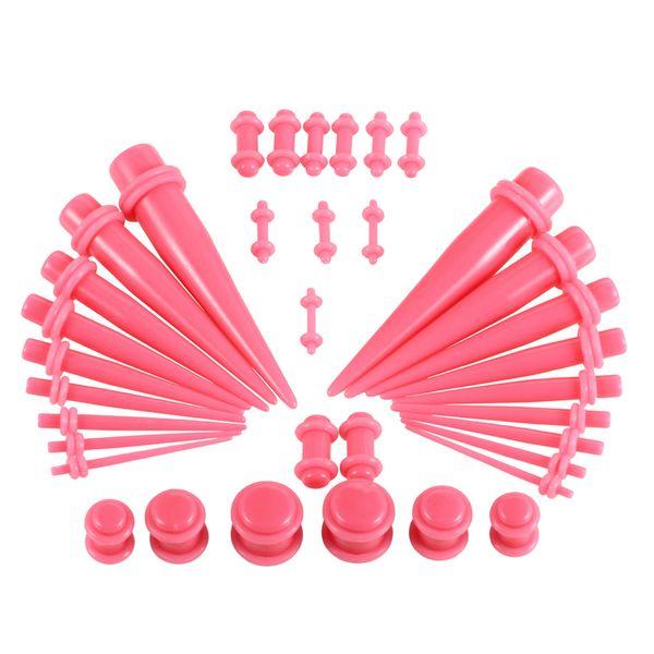 Moda 36Pcs / Set Hot Acrylic Ear Gauge Taper and Plug Kits de estiramiento Body Piercing Jewelry 7 colores