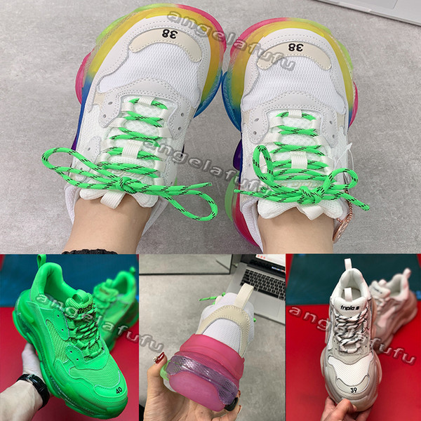 top popular Hot!!2019 new Fashion Paris Triple-S Sneaker Triple S Casual Dad Shoes for Men's Women Beige Black Ceahp Sports Designer Shoe Size 36-45 2020