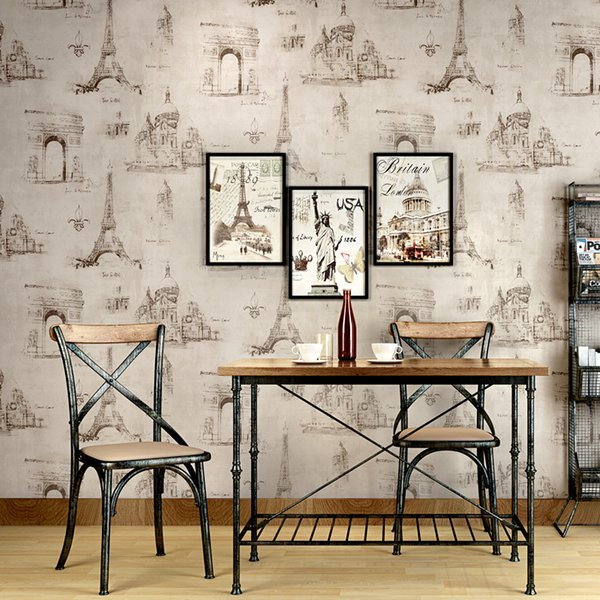 American retro iron tower pattern wallpaper vintage cafe personality home decor living room wall paper PVC waterproof wallpaper