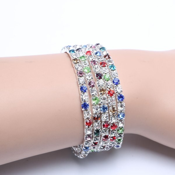 5pcs/lot Crystal Bracelets Promotion Fashion Chic Single Row Stretched Elastic Strand Bracelet For Women