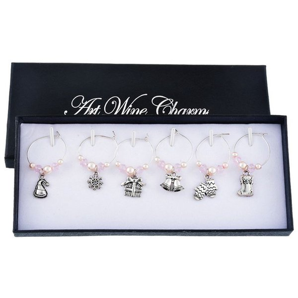 Mixed 6pcs Christmas Pendants Wine Glass Charms Marker Tag Set with Gift Box