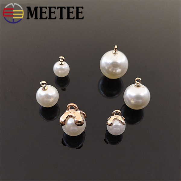 Meetee 8/10/12/14mm Pearl Shirt Buttons Resin Alloy Pendant Decor for Sewing Clothing Jewelry Pendant Bow Craft Accessories