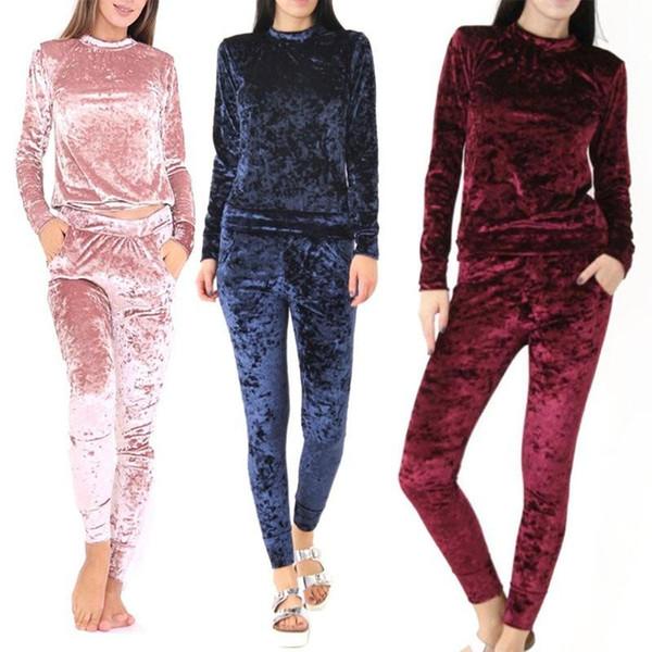 Abbigliamento primavera fitness Abbigliamento donna Tute Completi in velluto a maniche lunghe Top Pullover Pantaloni donna Nero S-XL