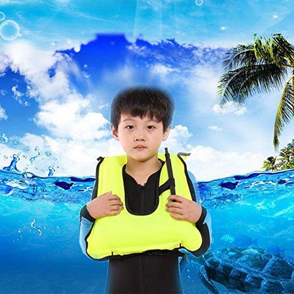 Gilet gonfiabile per bambini Snorkeling Girl Boy Giacca regolabile Sicurezza Nuoto Drifting Life Jacket Survival Sportswear
