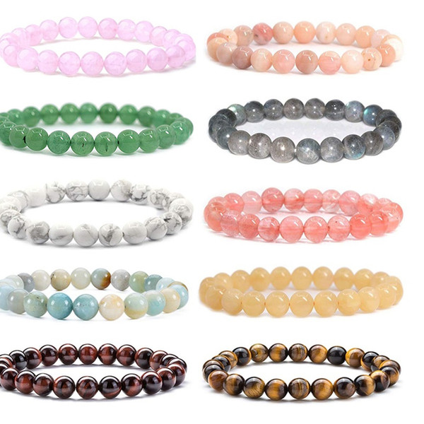 top popular 8MM Fashion Brand Luxury Natural Stone Healing Crystal Stretch Beaded Bracelet Women Men Handmade Precious Gemstone Round Bracelets Jewelry 2021